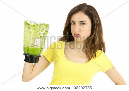 Woman Doesn't Like Green Smoothie