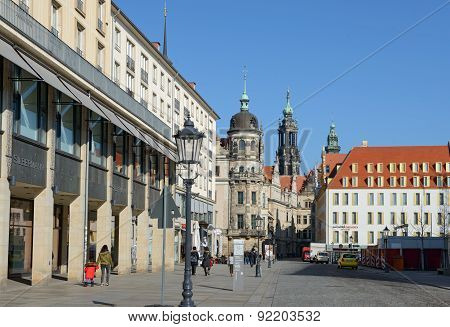 Schloss Street Of Dresden Towards Dresden Castle, Saxony, Germany.