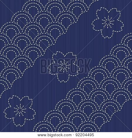 Traditional Japanese Embroidery Ornament with blooming sakura flowers.