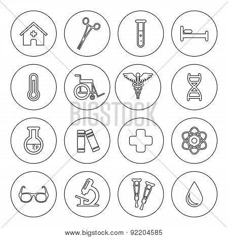 Set Of Vector Medical Line Icons