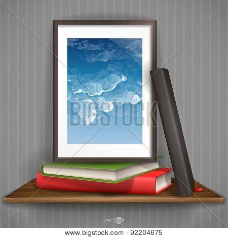 Wood Shelf With Photo Frame