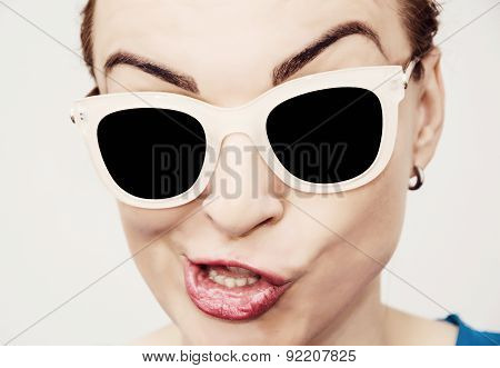 Crazy Caucasian Glamour Woman With Stylish Sun glasses