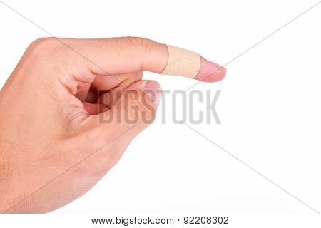 Adhesive Bandage On Index Finger