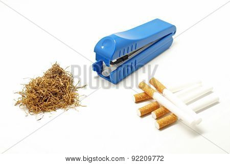 Cigarette Making Machine With Cigarette Tube And Tobacco Leaves