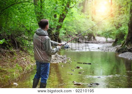 Fisherman With Fly-fishing On Mountain River