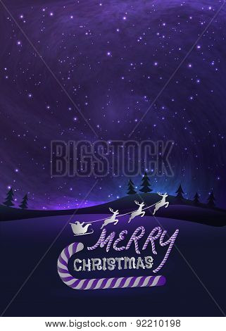Merry Christmas greeting card with shiny stars in night skies, xmas tree forest and flying santa.  V