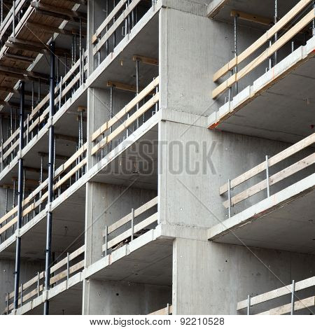Closeup Of Construction Site With Concrete Walls