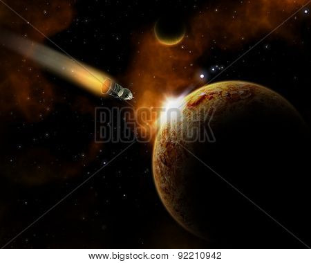 3D space landscape with fictional planets and shuttle