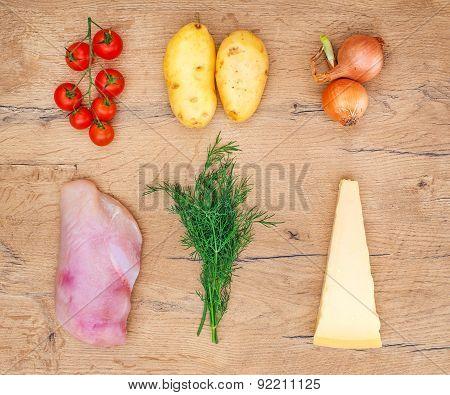 Food Ingredients On Wooden Tabletop. Top View.