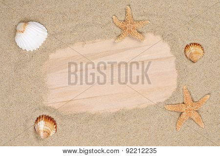 Beach Scene In Summer Holiday With Sand, Sea Shells, Stars And Copyspace