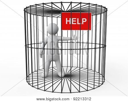 3d man in cage asking for help