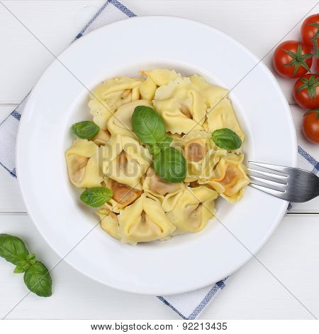 Italian Cuisine Tortellini Noodles Pasta Meal With Basil From Above