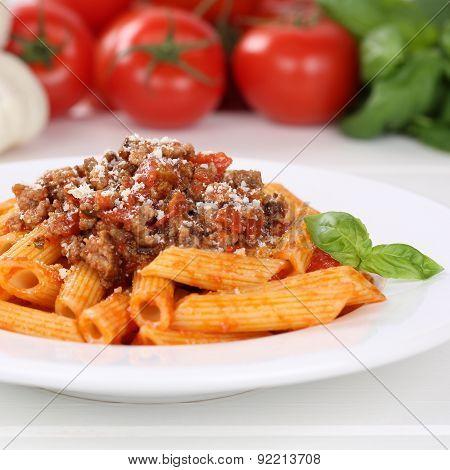 Italian Cuisine Penne Rigate Bolognese Sauce Noodles Pasta Meal