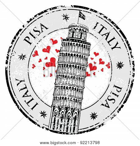 Stamp Pisa Tower In Italy, Vector