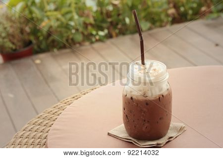 Iced Cocoa In A Glass At A Cafe.