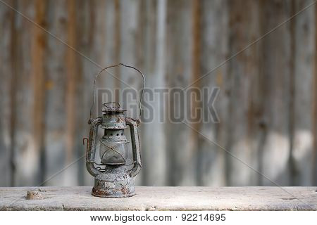Old Metallic Rusty Kerosene Lamp