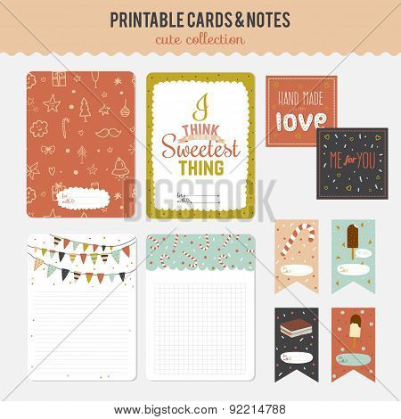 Set of cards, notes and stickers with cute illustrations.
