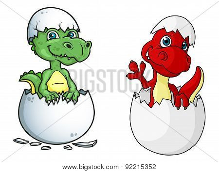 Cute little dinosaurs characters out of eggs