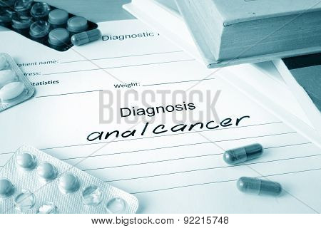 Diagnostic form with diagnosis anal cancer.