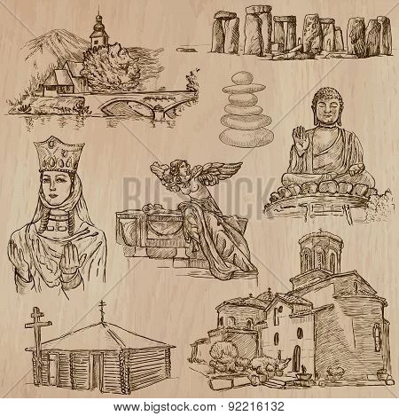 Religion Around The World - Freehand Vectors, Pack