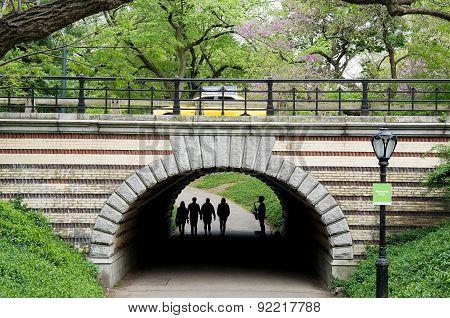 Silhouette of saxophone player performing under Central Park bridge in Manhattan