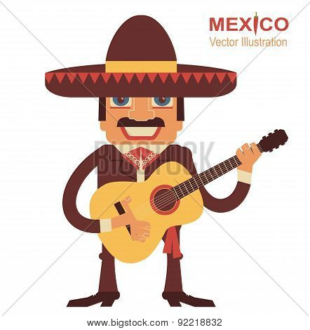 Mexican Man With Guitar