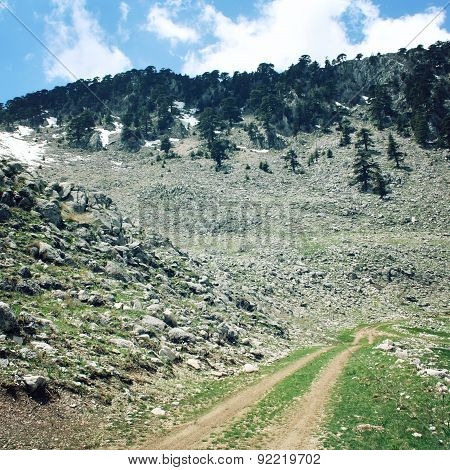 Walking Holidays On The Lycian Way, Turkey. Road In High Mountains.