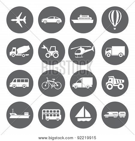 Set Of Vector Transport Icons In Flat Style