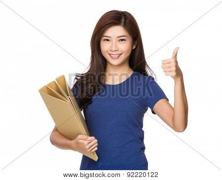 Young woman holding with document work