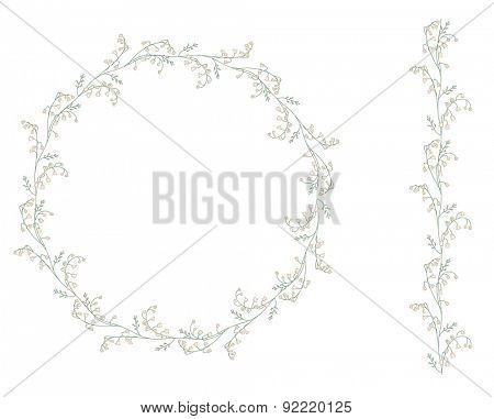 Detailed contour wreath with lilies of the valley isolated on white. Round frame for your design, greeting cards, wedding announcements, posters.Seamless pattern brush.