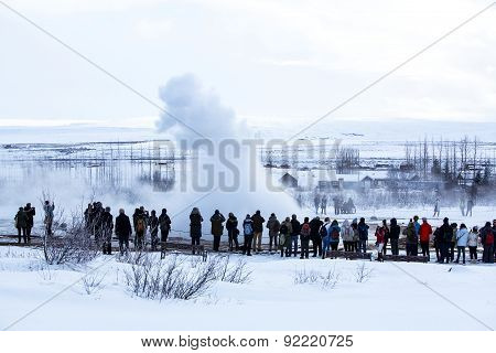 Visitors At The Geyser Eruption Of Strokkur, Iceland