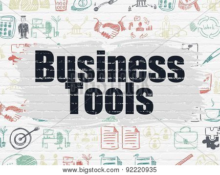 Business concept: Business Tools on wall background