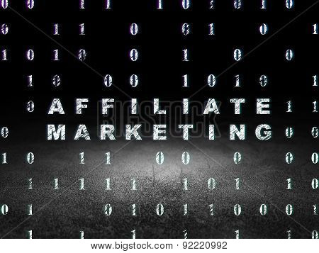 Finance concept: Affiliate Marketing in grunge dark room