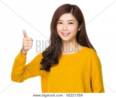 Asian woman with thumb up gesture