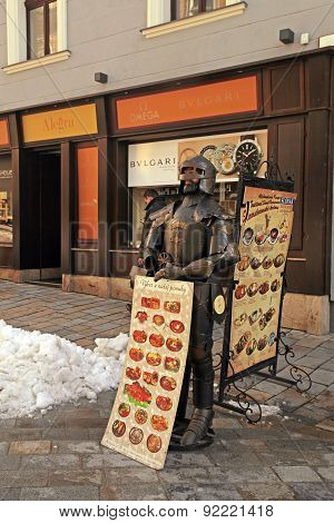 Street Cafe Menu Board And Knight In Old Town, Bratislava