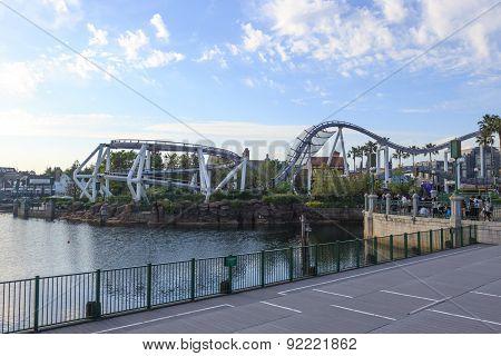 Roller Coaster In Universal Studios,osaka Japan.