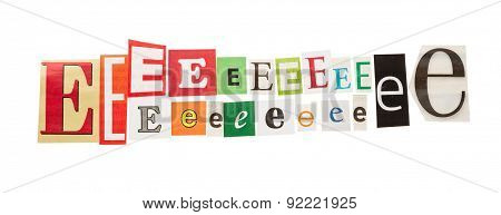 E inscription letters set