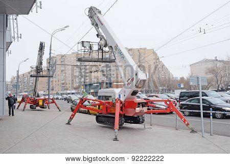 Moscow, Russia, November, 25, 2014: Telescopic lift on Kutuzovsky Prospekt