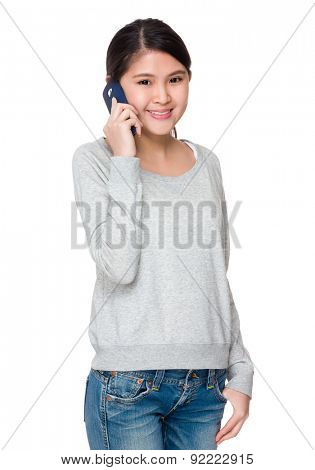 Asian student talk to cellphone