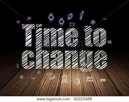 Timeline concept: Time to Change in grunge dark room