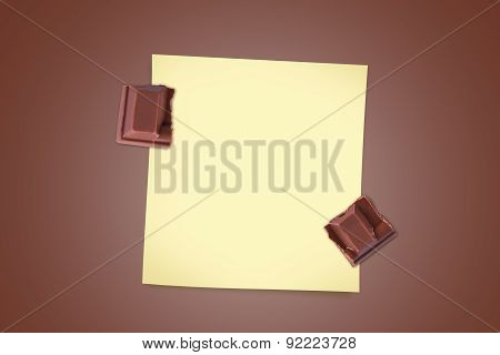 Bar Chocolate Pieces With Sticky Note Paper
