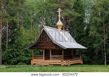 Old Wooden Orthodox Chapel In North Russia