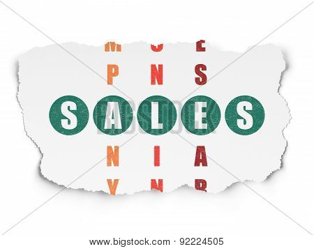 Marketing concept: word Sales in solving Crossword Puzzle