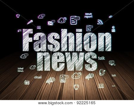 News concept: Fashion News in grunge dark room
