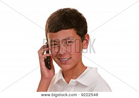 Unsure Teen On Cellular Telephone (cellphone)