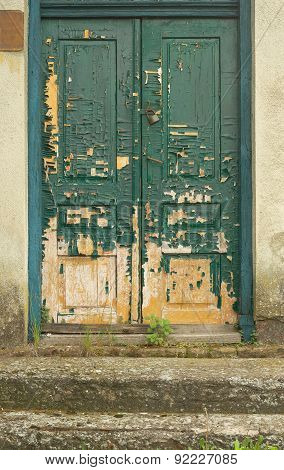 Old Doors Faded By Sun