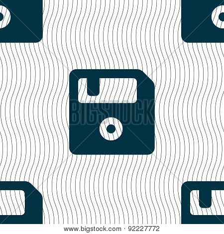 Floppy Icon Sign. Seamless Pattern With Geometric Texture. Vector