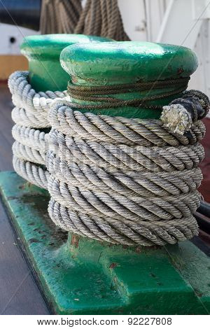 Ropes On An Ancient Sailing Vessel