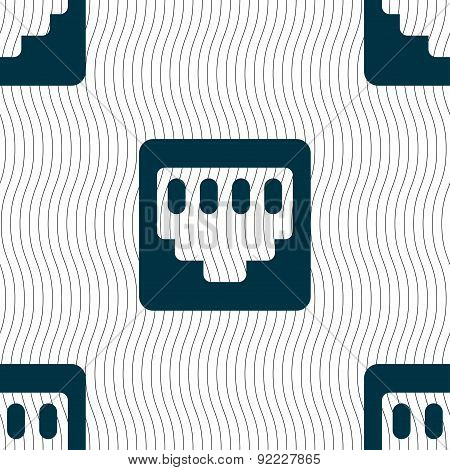 Cable Rj45, Patch Cord Icon Sign. Seamless Pattern With Geometric Texture. Vector