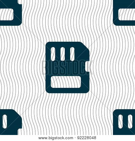 Compact Memory Card Icon Sign. Seamless Pattern With Geometric Texture. Vector